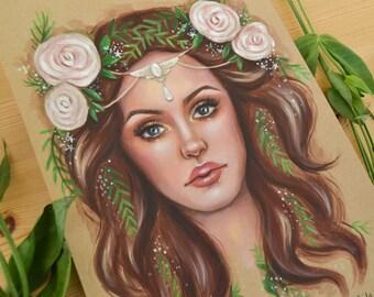 Woodland Beauty Acrylic Painting - Art Print by Emily Luella