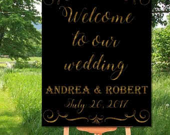 Gold Wedding Printable Welcome Sign, Gold Welcome to our Wedding Sign Printable, Printable Welcome to Wedding Vintage Sign, Printable Sign