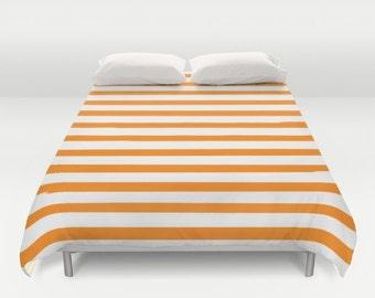 Orange Stripes Duvet Cover, Twin Queen King, Striped Bedding, Kids Duvet Cover, Girls Bedroom Decor, Boys Room, Kids Bedding, Dorm Room