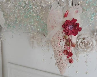 Valentine  hanging Heart  Deep Rose Pink Rose and Lace