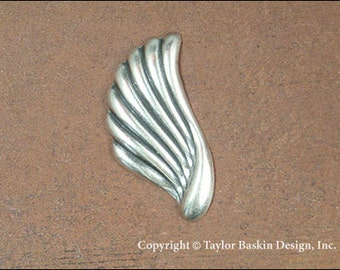 Antiqued Sterling Silver Plated Angel Wing or Earring Component (item 1405-large AS) - 6 Pieces