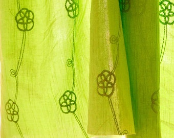 Flower Embroidered Cotton Fabric Apple Green Soft Fabric For Cloth Upholstery Curtain L76 ( 1 yard)