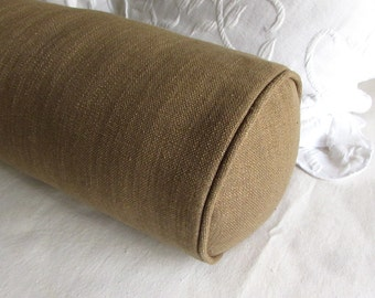 7x20 bolster pillow includes insert, dark toast/tan