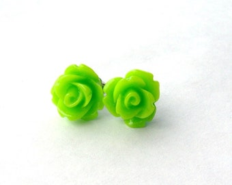 Lime green rose stud earrings / resin rose / surgical steel studs / hypoallergenic earrings / girlfriend gift / bridesmaid / gift for her