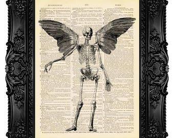 Winged Skeleton Art Print Skeleton Wall Art Print Human Anatomy Art Anatomical Skeleton Poster Vintage Dictionary Art Cyber Monday Sale 124