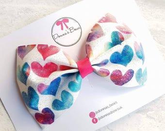 Glitter ribbon bow, heart bow clip, baby/girl hair accessory