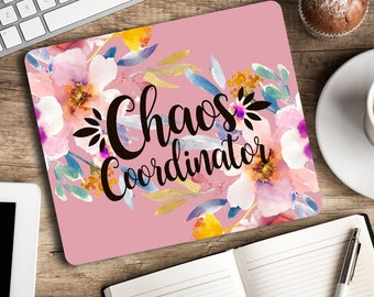 Chaos Coordinator - Funny Mouse pad Purple floral mouse mat Cubicle decor Office space Desk accessory Rectangular mousepad Gift for coworker