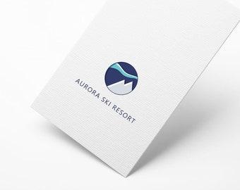 Personalized Logo Theme Ski - MOUNTAIN - AURORA BOREALIS
