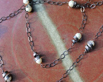Iron Jewelry: Hand-forged Iron spiral and Pearl Necklace
