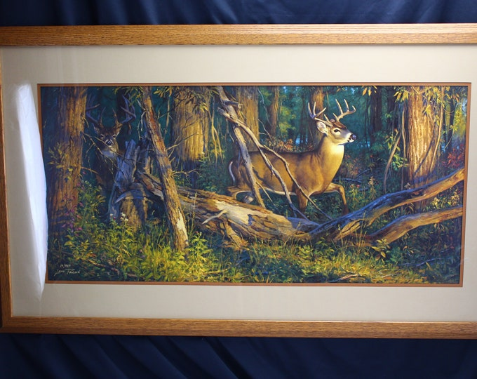 """Vintage Limited Number Print Lithograph Leon Parson """"The Rookie"""" Whitetail Deer Wildlife Painting"""