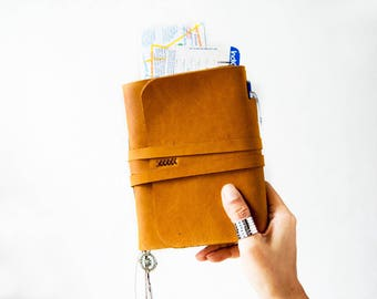 Travel Journal with pocket, Leather Journal, Leather Sketchbook