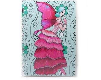 Fairy Passport Cover - Victorian Rose Fairy - passport holder - pink and aqua - women's travel accessory