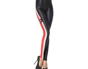 Racer Red and Black Leggings