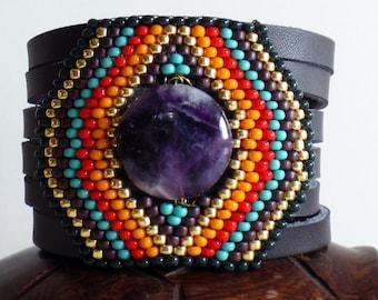 Leather cuff bracelet, Beaded Bracelet, Native American Bracelet,Amethyst