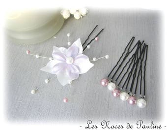 Set of purple and white hair flower silk jewelry