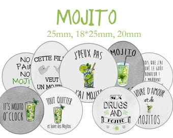 """Cabochons collage sheet / digital """"Mojito, Cuba, alcohol, drink, party, evening, lime, mint, rum"""" round"""