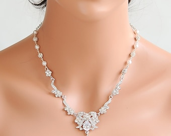 Wedding Bridal Necklace, Victorian Style Flower Leaf Wedding Necklace, Y Drop Necklace, Swarovski Pearl and Rhinestone Necklace, DIXIE