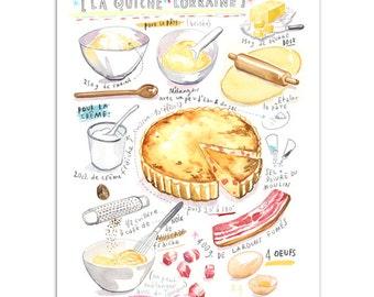 Quiche Lorraine recipe print, Yellow kitchen decor, French food poster, Kitchen wall art, Watercolor food, Food painting, Kitchen poster