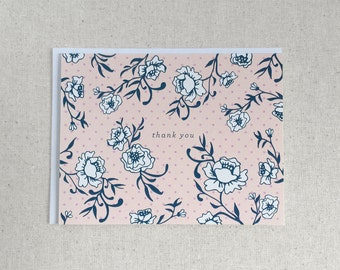 Floral Thank You Note Cards - Pink 8 pcs