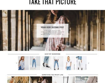"Blogger Template ""Take That Picture"" / Responsive Blogspot Photography Premade Blog Theme Design"