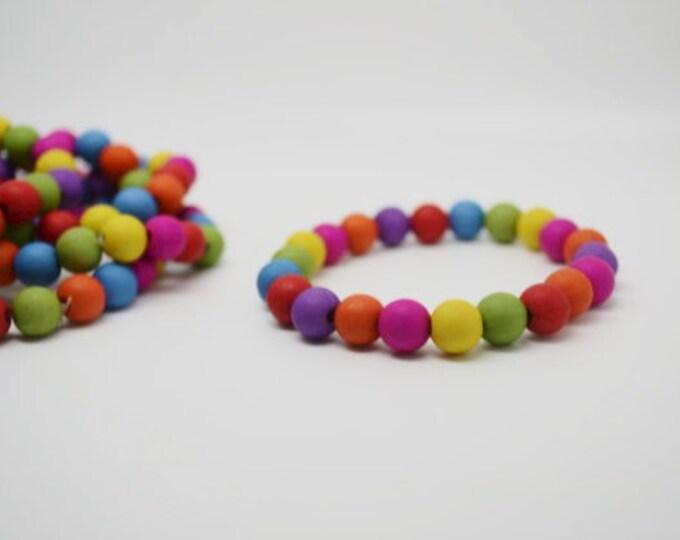 RAINBOW BEADED BRACELETS x 2 in children's size