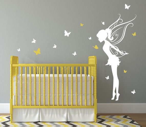 Baby Girl Room Decor Fairy Wall Decal w/ Butterflies Vinyl
