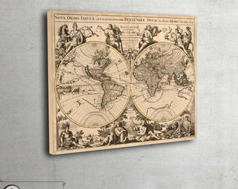 """Old map of the world - Vintage style map  - Wall world map - Archival Fine Art print - large art print up to 42"""" x 53"""" - 007"""