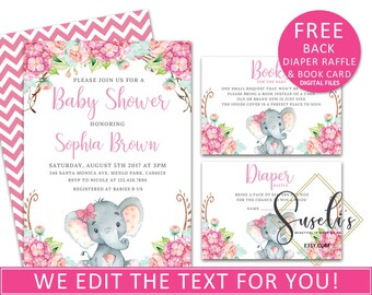 Baby Shower Invitation set, Printable Girl Elephant Safari baby Shower Watercolor Pink Flowers Elephant jungle baby, DIGITAL FILES, BS14