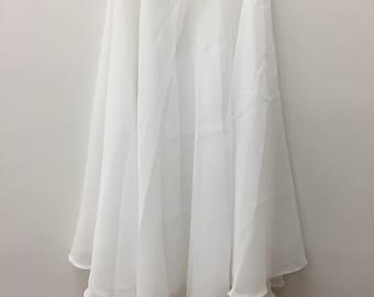 Knee Length Chiffon Ballet Skirt in White (Pull Up)