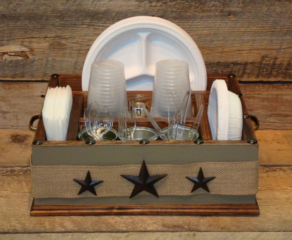 Khaki Color With Burlap Ribbon And Metal Stars Wood Utensil