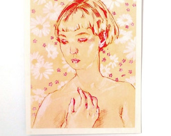 """Portrait of a Girl - """"Yellow Bed Sheets"""" // 2 Color Risograph Print 11"""" x 14"""" // Fine art Print"""