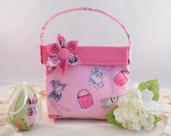 Little Girls' Pink Dog And Paris Themed Fabric Purse With Detachable Fabric Flower PIn
