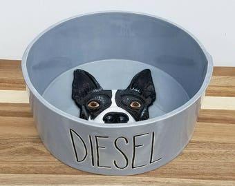 8in Bowl, Custom Pet Portrait Bowl, custom pet bowl, dog bowl, cat bowl, pet bowl, dog portrait, cat portrait, pet portrait, pet food bowl