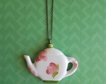 Floral Tea Pot Necklace