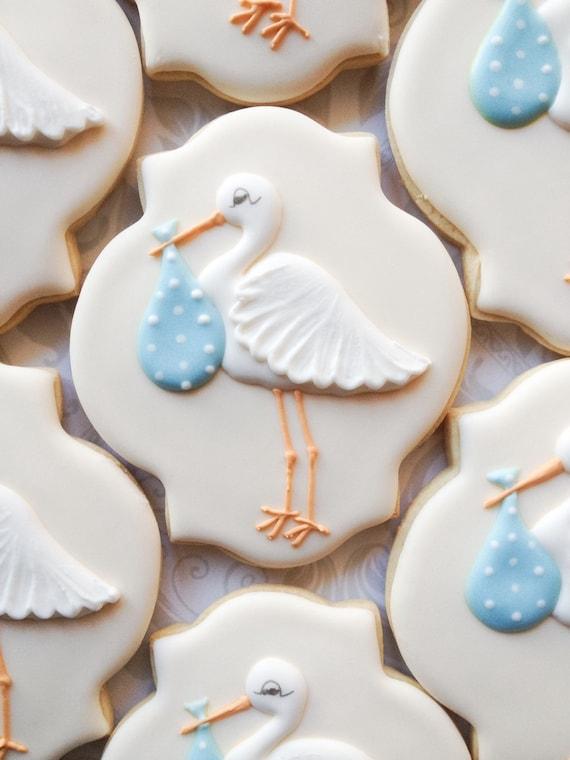Exceptional Elegant Pastel Blue Stork Baby Shower Cookies One Dozen