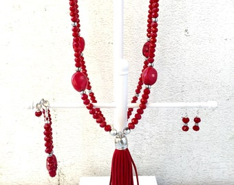 Red tassel necklace - Long beaded necklace with red tassel - Red Jewelry Set