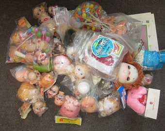 Large Lot Doll Making Supplies 56+ Pieces Heads Hands Clown Faces Balloon Bunches Hair and more