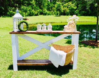 Farmhouse Entryway X Table, LOCAL PICKUP ONLY!!