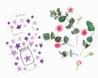 Purple star Tracker Stickerset-watercolor sticker-pretty planning-scrapbooking-bullet journaling