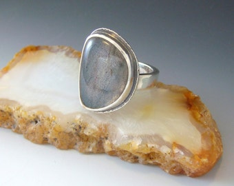 Labradorite Ring - Size Six and a Half - Green Flash - Sterling Silver - Antiqued Patina - OOAK Statement Ring - Half Circle Shape
