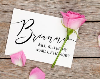 Will You Be My Maid of Honor Card, Bridesmaid Proposal, Be My Bridesmaid Request Card, Flower Girl, Bridal Party Gift, Wedding Announcement
