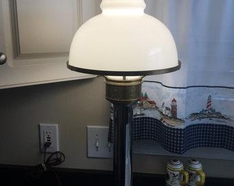 Mid Century Mushroom Table Lamp Chrome Brass White Glass Shade