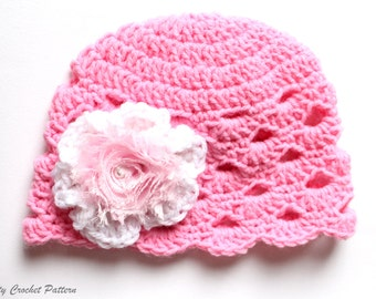 Baby Girl Hat With Flower, Baby Girl Hat Crochet Pattern, Toddler Hat Pattern, Toddler Girl Hat Pattern, Crochet Hat Pattern For Kids