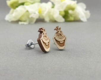Disney Frozen Olaf Post Earrings - Laser Engraved Wood Earrings - Hypoallergenic Titanium Post Earring Pair