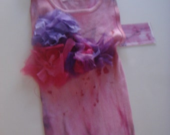 Violet and Purple & fuschia  tones on this hand dyed and silk embellished tee