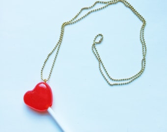 Candy Heart Lollipop Charm Necklace Miniature Food Jewelry Resin