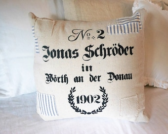 Faux Grain Sack stenciled pillow