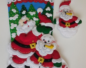 Finished Bucilla Christmas Stocking - Santa's Snowman with Ornament - NEW DESIGN
