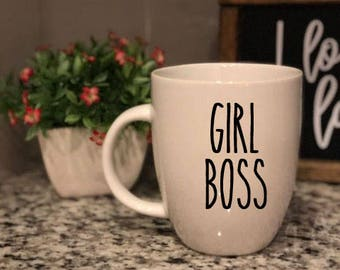 Rae Dunn Inspired Vinyl Decal - Girl Boss - Boss Babe - Boss - Coffee Mug - Farmhouse