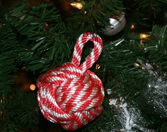 Knotted Rope CANDY CANE Ornament Nautical Monkey Fist Item Made in USA Christmas Holiday